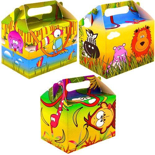 German Trendseller® - 8 x boîtes de jungle┃ Party Box ┃avec poignée ┃pour remplir┃ Safari Box┃ l'anniversaire d'enfant