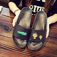 fankou Slippers Women Indoor Summer Stay Couples Anti-Slip Thick Bath Bathroom Cartoon Cool Slippers Summer Home Men and,40/41, Men Black