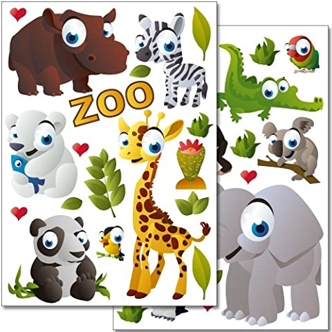 Wandkings WS-50031 Lot de 37 autocollants de décoration murale 2 feuilles Format A4 Motif animaux du zoo 60 x 20 cm