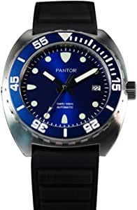 Pantor Sealion - Orologi da uomo, 300 m, con valvola a elio, cinturino in gomma zaffiro e cinturino in nylon