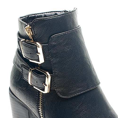 Damen High Heel mit Reißverschluss und Schnalle Kette Damen Schuhe Stiefel Chelsea Stiefelette EU Size Black PU Two Buckles