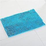 pahajim Badteppich Badewannen Anti-Rutsch Teppich Saugkissen Chenille aus weichem Stoff Badezimmer Teppich 80x 50cms (grau) (blau)
