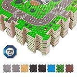 BodenMax® 30 x 30 x 1 cm Kindermatte Bunt Teppichmatte mit kindlichen Mustern Puzzlematte Kinderteppich Matte Kinderspielteppich Unterlegmatte Spielmatte Fitnessmatten(Karte, 18 Stück)