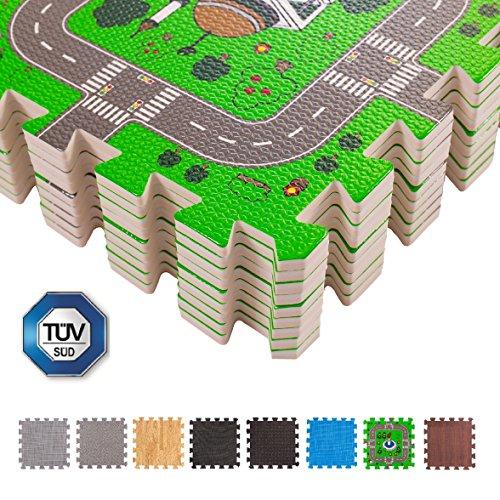 BodenMax 30 x 30 x 1 cm Kindermatte Bunt Teppichmatte mit kindlichen Mustern Puzzlematte Kinderteppich Matte Kinderspielteppich Unterlegmatte Spielmatte Fitnessmatten(Karte, 18 Stück) -