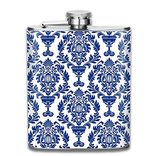 Blaue Verzierung mit Blumenmuster Premium 304 Edelstahl Flachmann personalisierter Kolben Großes Geschenk, 7 Unzen (Bulk Billig Basketbälle In)