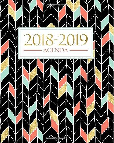 Agenda 2018-2019: 19x23cm: Agenda 2018-2019 settimanale italiano: Oro, Corallo e Motivo a zigzag verde menta por Papeterie Bleu