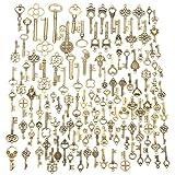 Jeteven 125PCS Retro Schlüssel Anhänger Bronze Silber Vintage Schmuck Basteln Key Kette Halskette Armband antik Deko (125er)