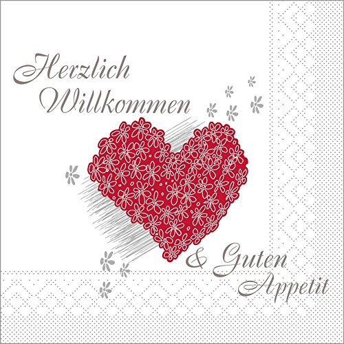 Sovie HORECA Serviette Herzlich Willkommen | Tissue 40x40 cm 100 Stück | perfekt für Hochzeit Feier Party