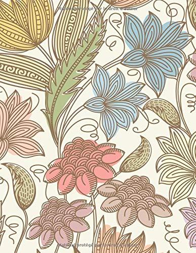 Carnet de Notes: Grand journal personnel de 121 pages blanches avec couverture fantaisie « Fleurs Champêtres » par Virginie Polissou