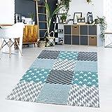 Teppich Flachflor Kurzflor Modern Karomuster Sterne Pastellfarbe Türkis Wohn-/Jugendzimmer Größe 160/230 cm