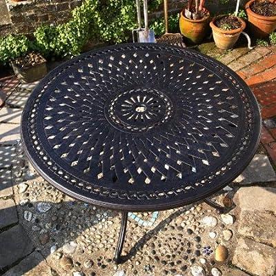 Alice 120cm Rundes Aluminium Gartenmöbelset - 1 ALICE Tisch + 4 MARY Stühle