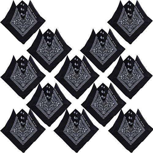QUMAO Pack de 12(100% Algodón) Pañuelos Bandanas de Modelo de Paisley para Cuello/Cabeza Multicolor Múltiple para Mujer y Hombre (Pack de 12; Negro)