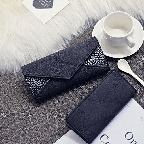Portafoglio Donna, Tpulling Donna uso quotidiano frizioni borsa portafogli borsa di modo della borsa (Gray) Black