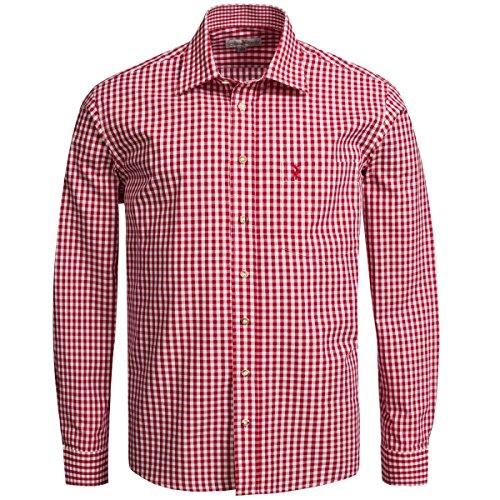 Trachtenhemd Regular Fit in Rot von Almsach, Größe:XXL, Farbe:Rot