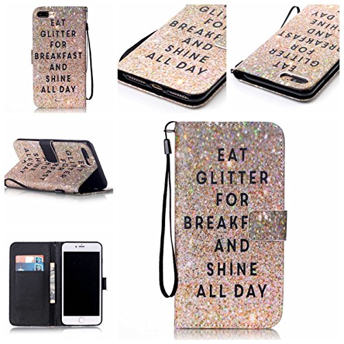 iPhone 7 Plus Coque, Apple iPhone 7 Plus Coque, Lifeturt [ Attrapeur de rêves ] Motif Pure Couleur Housse en Cuir Case à Avec La Fonction Stand Coque de Intérieure Protection Souple Coque Portefeuille E2-Eat Glitter Breakfast and Shine All Day