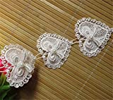 1,8m Cœur Nœud Perle Dentelle ruban 5.2cm de largeur Style vintage Blanc Bordure garnitures Tissu brodée Applique à coudre Craft Vêtements de chapeaux de robes de mariage Décoration DIY Cartes à broder
