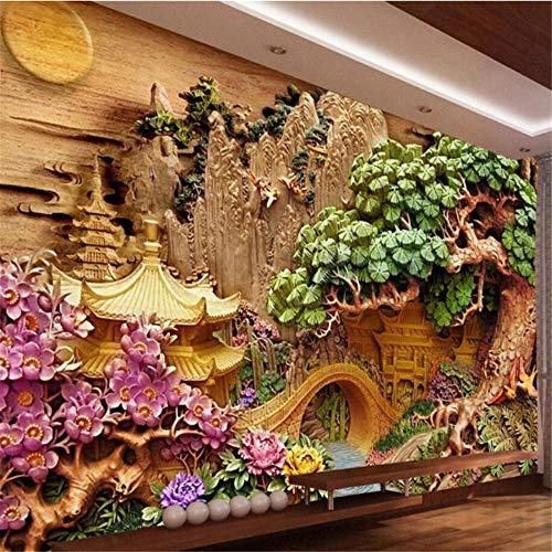 Xbwy Benutzerdefinierte Wallpaper Einrichtungsgegenstände Wandrelief Pavilions Begrüßung Kiefer Tv Wand Hintergrund Wand Fresken 3D Tapete-200X140Cm