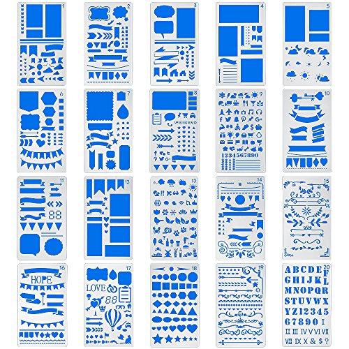 Bullet Journal Pochoirs 20pièces en plastique 10,2x 17,8cm Planning Pochoirs Journal/portable/agenda/Scrapbooking DIY Pochoir de gabarit de dessin