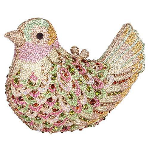 Bonjanvye Glitter Rhinestone Bird Clutch Purses Evening Clutch Bag for Girls Orange colorful green