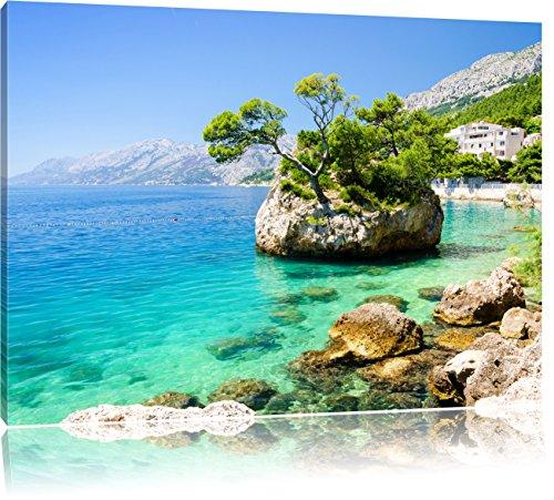 Preisvergleich Produktbild Wunderschöner Dalmatia Strand in Kroatien, Format: 100x70 auf Leinwand, XXL riesige Bilder fertig gerahmt mit Keilrahmen, Kunstdruck auf Wandbild mit Rahmen, günstiger als Gemälde oder Ölbild, kein Poster oder Plakat
