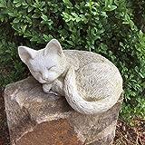 Antikas - escultura gato durmiente - animal decoración para el jardín y hogar - gato de piedra