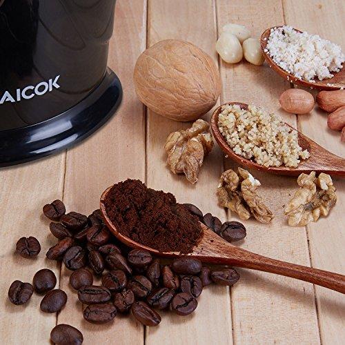 Aicok Elektrische Kaffeemühle, Kraftvolle 200 Watt Schlagmesser, Kaffeebohnen, Nuß und Gewürz Mühle mit Edelstahl Klingen, Schwarz -