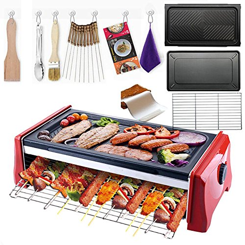 G&Z Hogar barbacoa eléctrica grill parrilla Teppanyaki placa caliente portátil barbacoa camping, no Stick, temperatura ajustable 1100W , 7pcs