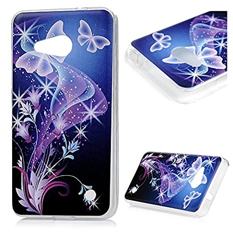 Nokia Microsoft Lumia 550 (4,7 pouces) Smartphone Coque de Protection - YOKIRIN Phone Case de TPU Souple Ultra Illustration en Couleur - Papillon Violet
