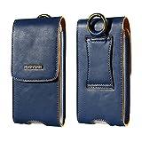 FLOVEME Multifunktions echt Ledertasche Hüfttashe Handy Tasche Sport Hüfttasche Bauchtasche Beuteltasche 5.5 Zoll Schutzhülle Camping Lederhülle mit Kartenfächern,Magnetverschluss und Karabiner für Apple iPhone 7/6S/6/5S/se/7 Plus/6S Plus/6Plus Samung S6/S7/S6edge/S7edge und alle Handys unter 5.5 Zoll Blau