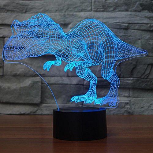 Jinson well 3D dinosaurier Lampe optische Illusion Nachtlicht, 7 Farbwechsel Touch Switch Tisch Schreibtisch Dekoration Lampen perfekte Weihnachtsgeschenk mit Acryl USB Kabel kreatives Spielzeug