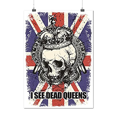 Schädel Tot Königin Metall Vereinigtes Königreich Skelett Vereinigtes Königreich Mattes/Glänzende Plakat A3 (42cm x 30cm) | Wellcoda