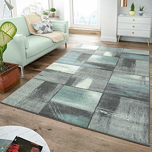 Tt home tappeto moderno a pelo corto, colori pastello, motivo a quadri, effetto dipinto grigio turchese, 160 x 220 cm