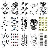Oottati 15 Blätter Kleine Nette Temporäre Tattoos Schädel Krone Papier Plane Strichkode Herz Vogel Rosen Blumen Firmenzeichen Diamant