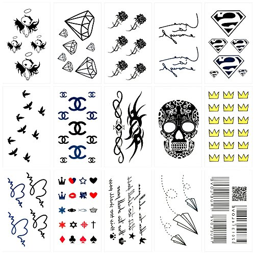Oottati 15 Blätter Kleine Nette Temporäre Tattoos Schädel Krone Papier Plane Strichkode Herz Vogel Rosen Blumen Firmenzeichen ()
