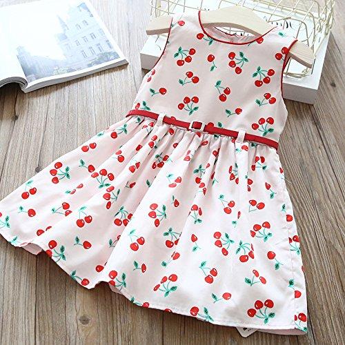 ruckt roten Gürtel Kleid Mädchen Sommer schönes Kleid,Weiß,130cm (Stich Kopf Kostüm)