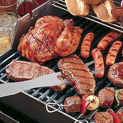 3pièces en acier inoxydable pour barbecue grill Set d'ustensiles With-spatula, fourchette et pince en kit Portable