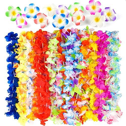 (FEPITO 36 Stück Tropical Hawaiian Hula Blume Leis Halsketten mit 18 Pcs Plumeria Hibiscus Blume Haarspangen für Aloha Luau Jungle Beach Moana unter dem Motto BBQ Birthday Party Dekorationen)