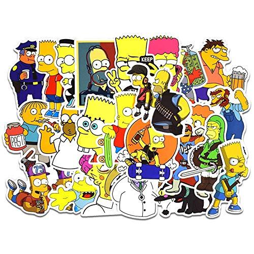 DKSANJ Anime Aufkleber Vinyl Cartoon Simpsons Aufkleber Laptop Aufkleber Skateboard Kühlschrank Auto PVC Graffiti Kinder Aufkleber 50 Teile/los