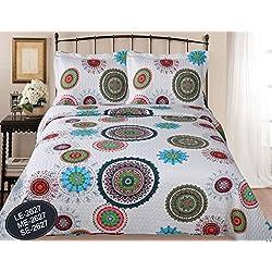ForenTex- Colcha Boutí reversible, (LE-2627), cama 150 cm, 240 x 260 cm, Estampada cosida, mandalas rosa, colcha barata, set de cama, ropa de cama. Por cada 2 colchas o mantas paga solo un envío (o colcha y manta), descuento equivalente antes de finalizar la compra.