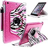Style4U Ipad Mini Case, [Everlasting Shine] Shiny Colorful Zebra 360 Rotating Pu Leather Stand Bling Case Cover + Auto Sleep/Wake Function For Ipad Mini 1/2/3 + 1 Stylus [Hot Pink]