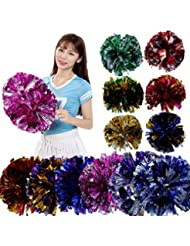 Souarts Pompon de Cheerleader pour Match de Basket Football Couleur Argent Fuschia 22cm 1PC