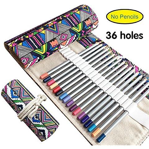 Canvas-Astuccio per matite, Ambielly-Astuccio per matite-Supporto, con elemento ufficio nazionale per la creazione artistica matite (n.), National Element, 36-Holes