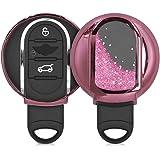 kwmobile autosleutelhoes compatibel met Mini 3-knops Smart Key autosleutel - sleutelcover van TPU in roze/metallic roze - Sne