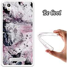 BeCool® - Funda Gel Flexible ZTE Blade A452 Mármol Blanco y Rosa Carcasa Case Silicona TPU Suave