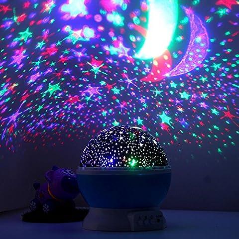 [Nueva Generación] Magicmoon 360 grados de rotación 3 Modo de luz del proyector de la estrella romántica Cosmos Luna del cielo de la lámpara de proyección de luz nocturna dormitorio para niños, bebés, regalos de la Navidad, los amantes del USB / Powered.d batería (azul)