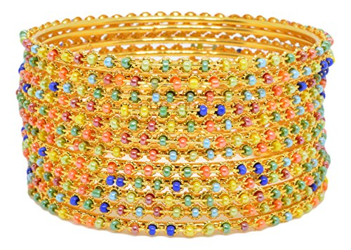 Sylque Bright And Stunning Multicolored Metal Bangles With Beads For Women And Girls (set Of 12)