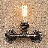 BAYCHEER Industrie Wandlampe Editon Beleuchtung Wandleuchte 2 Knoepfe Steampunk Lampe Eisen Rohr Jahrgang E27 220-240V Kuechenlampe Schlafzimmerlampe