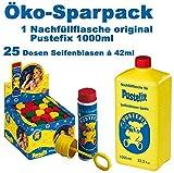 Original PUSTEFIX Seifenblasen Kombi-Set (25 Seifenblasen Dosen + Nachfüllflasche)