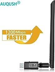 AUQUSH USB Wifi Adapter 1200Mbit/s[5.8G/867Mbps+2.4G/300Mbps] mit Dualband Wireless AC Adapter und Wlan Stick mit Antennenbuchse und abnehmbarer Antenne für Desktop, Windows,laptop,Mac Linux (Schwarz)