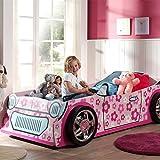 Pharao24 Kinder Autobett für Mädchen Rosa Pink